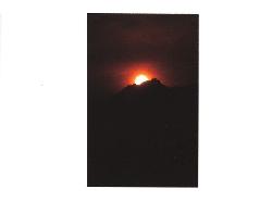 朝日岳に沈む夕陽