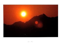 剣が峰に沈む夕陽